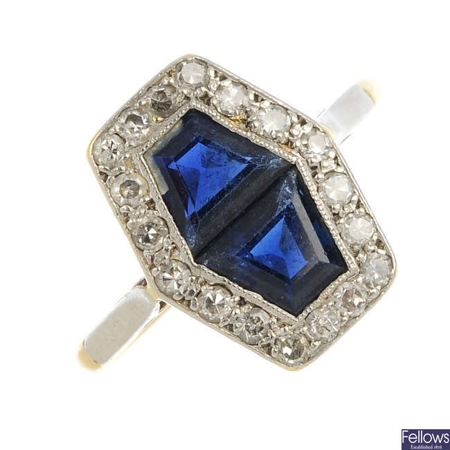 An Art Deco 18ct gold and platinum sapphire and diamond ring.