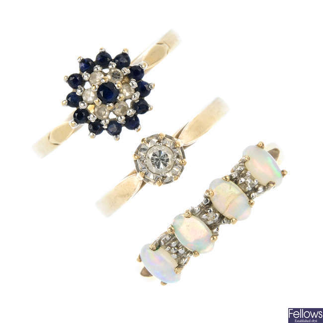 A selection of six 9ct gold gem-set dress rings.