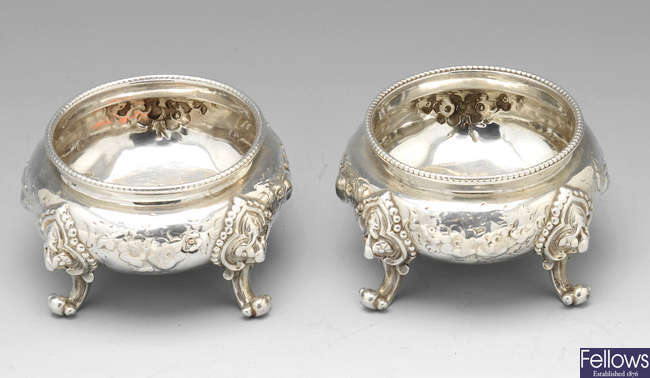 A Victorian pair of silver open salts.