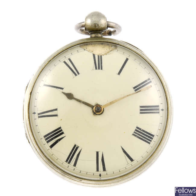 A open face pair case pocket watch by John Pace, Bury