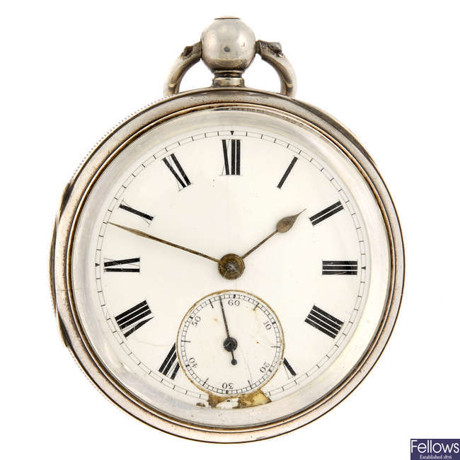 An open face pocket watch by J Worthington with a stamped white metal pocket watch.