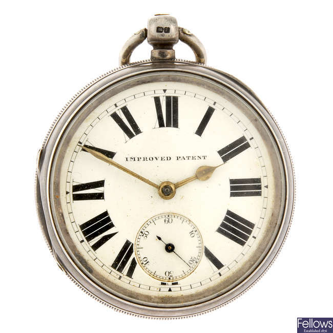 An open face pocket watch by J Harris & Sons with two other pocket watches.