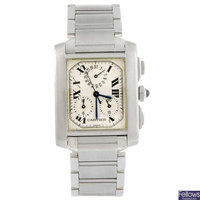 CARTIER - a Tank Francaise  Chrono-Reflex bracelet watch.