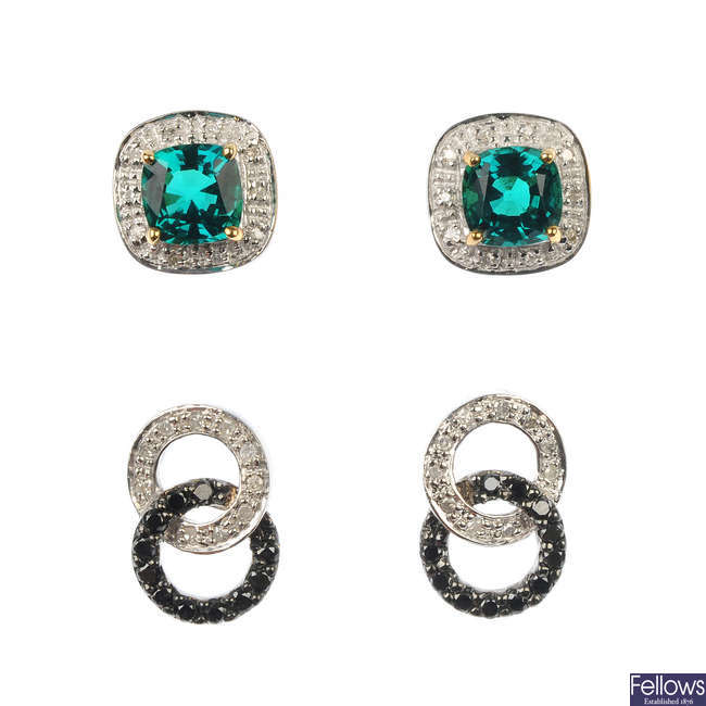 A selection of eight pairs of diamond and gem-set ear studs.