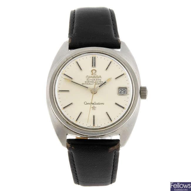 OMEGA - a gentleman's stainless steel Constellation wrist watch.