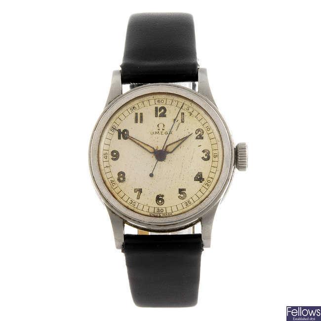 OMEGA - a gentleman's stainless steel wrist watch.