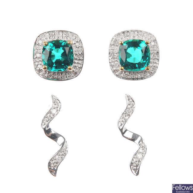 A selection of eighteen pairs of gem-set ear studs.