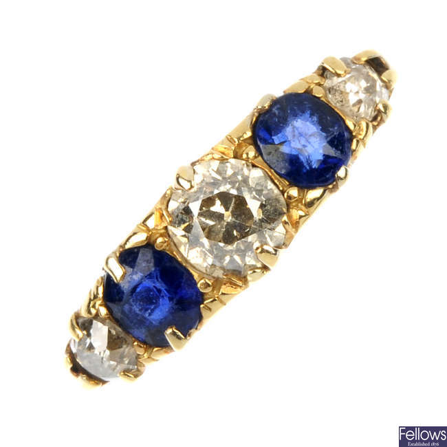 An early 20th century 18ct gold diamond and sapphire five-stone ring.