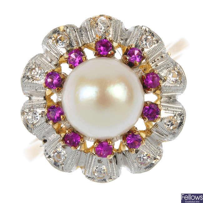 An 18ct gold gem-set ring.