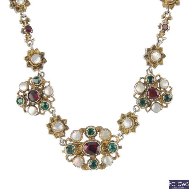 An Austro-Hungarian gem-set necklace.