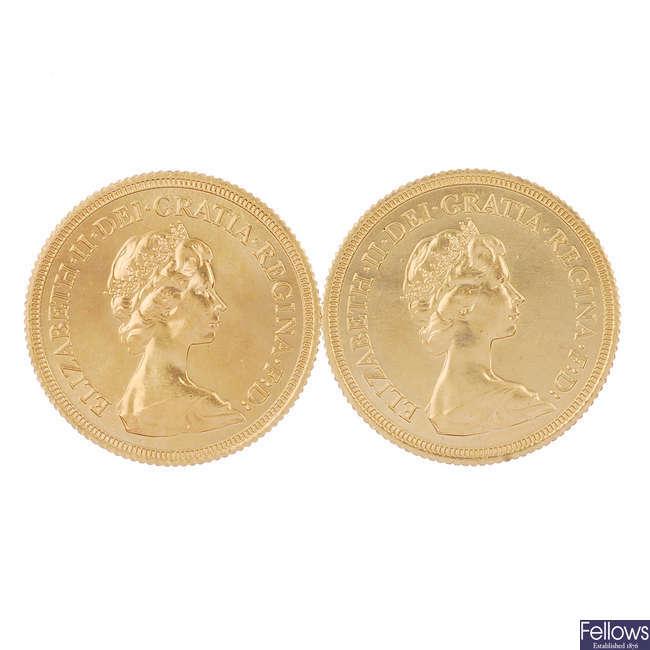 Elizabeth II, Sovereigns 1979, 1980.