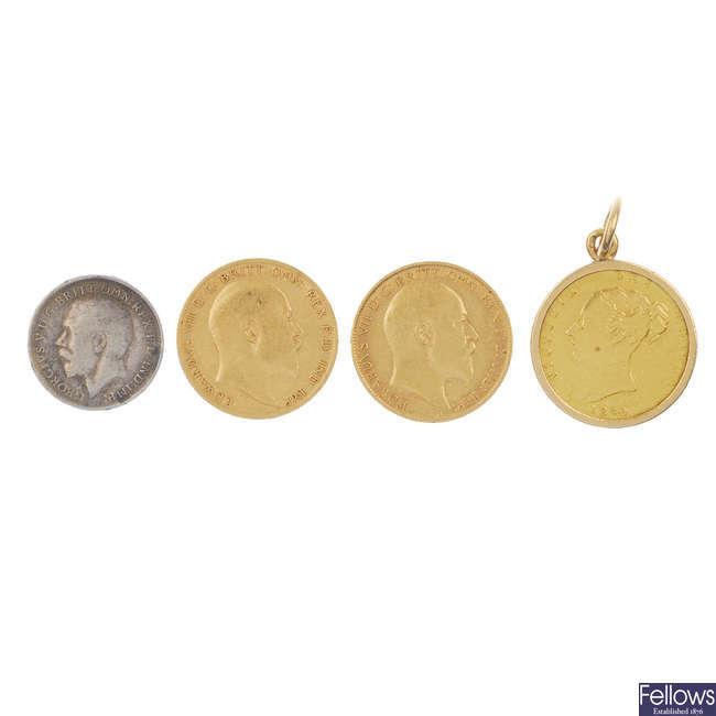 Three Half-Sovereigns & Maundy Three-Pence.