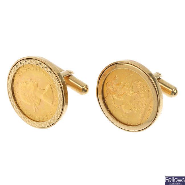 A pair of sovereign cufflinks.