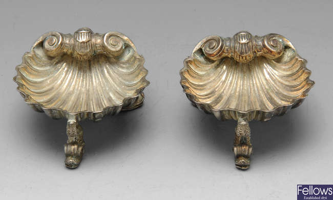 Pair of Victorian shell salts.