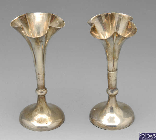 A pair of Edwardian silver bud vases, etc.