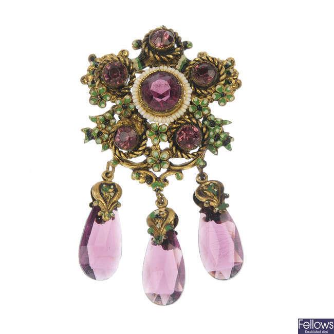 A selection of nine items of Czechoslovakian jewellery.