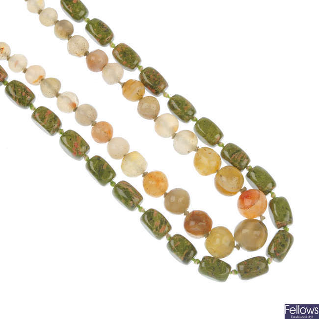 A selection of hardstone necklaces.