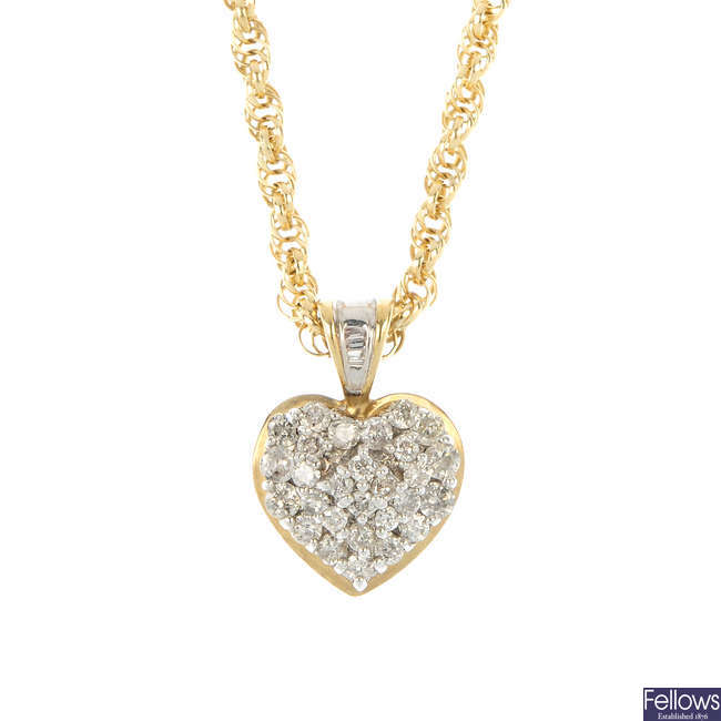 A 9ct gold diamond heart pendant.
