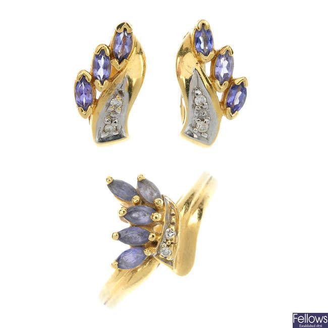 A set of tanzanite and diamond jewellery.
