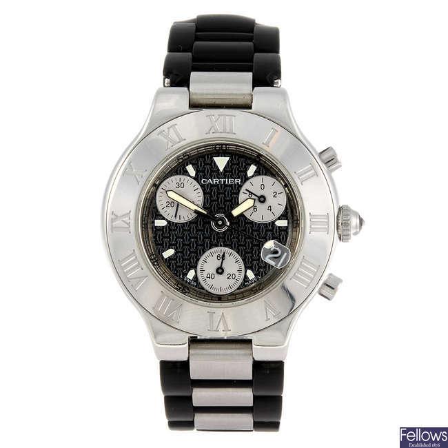 CARTIER - a Chronoscaph 21 bracelet watch.