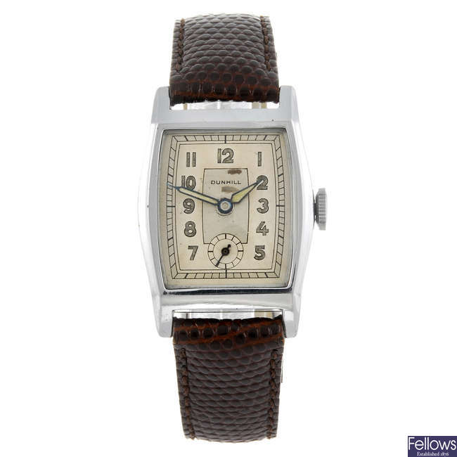 DUNHILL - a gentleman's wrist watch together with a Hilton wrist watch.