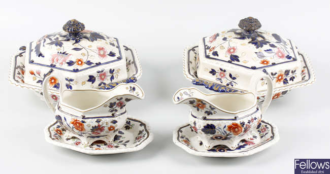 An extensive mid 19th century English Ironstone dinner service