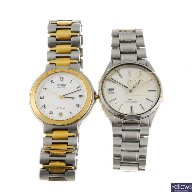 A group of fifteen Seiko watches and parts.