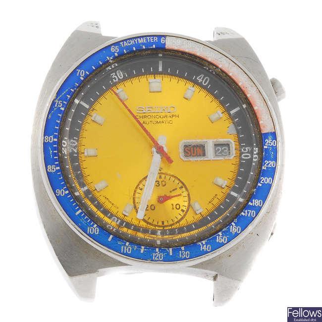 A Seiko chronograph watch head.