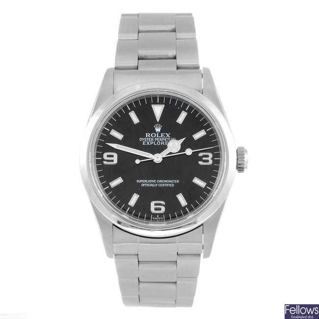 ROLEX - a gentleman's Oyster Perpetual Explorer bracelet watch.