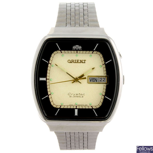 ORIENT - a gentleman's Crystal bracelet watch.