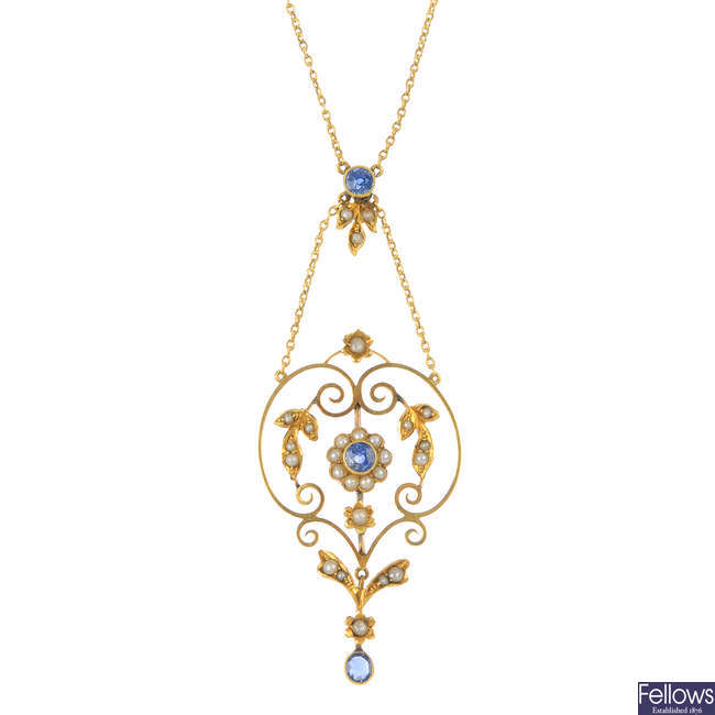 An early 20th century 9ct gold sapphire and split pearl necklace.