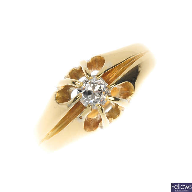 An early 20th century 18ct gold diamond single-stone ring.