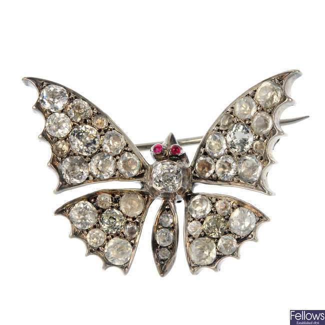 An early 20th century silver paste butterfly brooch.