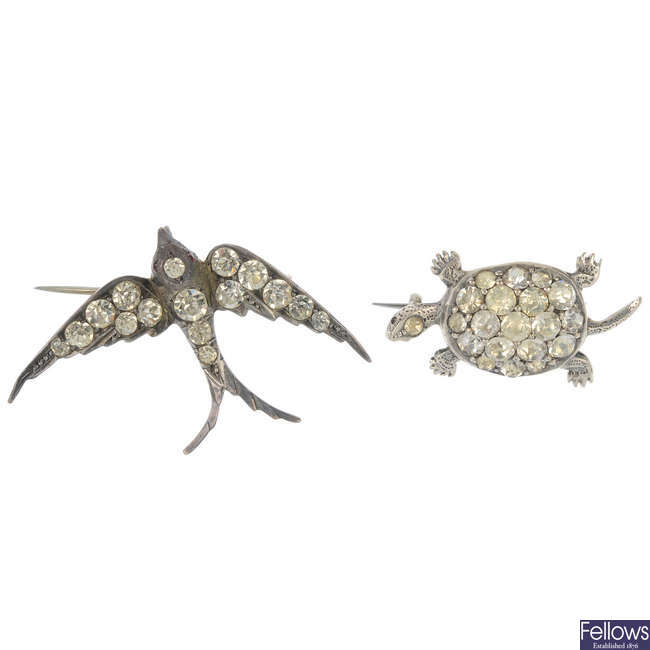 Two paste brooches.