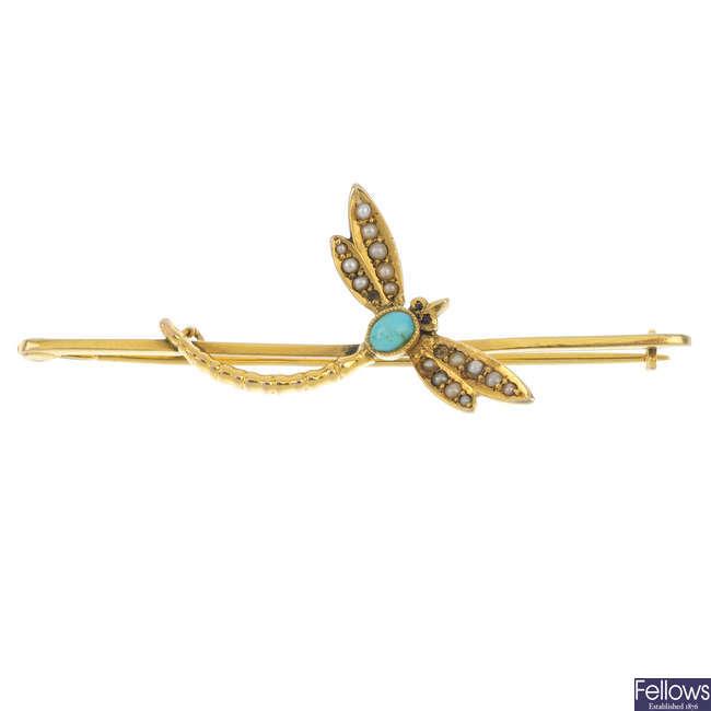 An early 20th century gem-set dragonfly bar brooch.