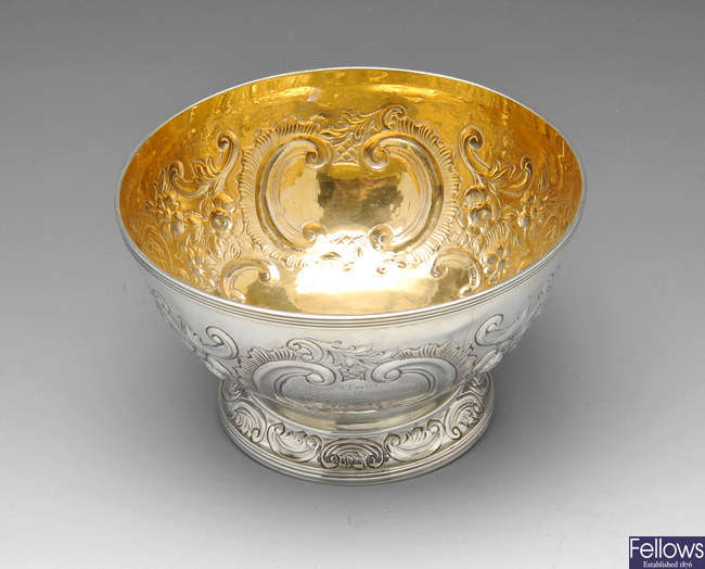 A Victorian silver rose bowl.