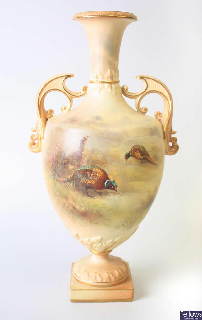 A Grainger & Co. Worcester porcelain twin handled vase