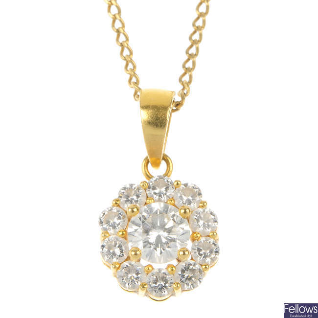 A diamond cluster pendant.