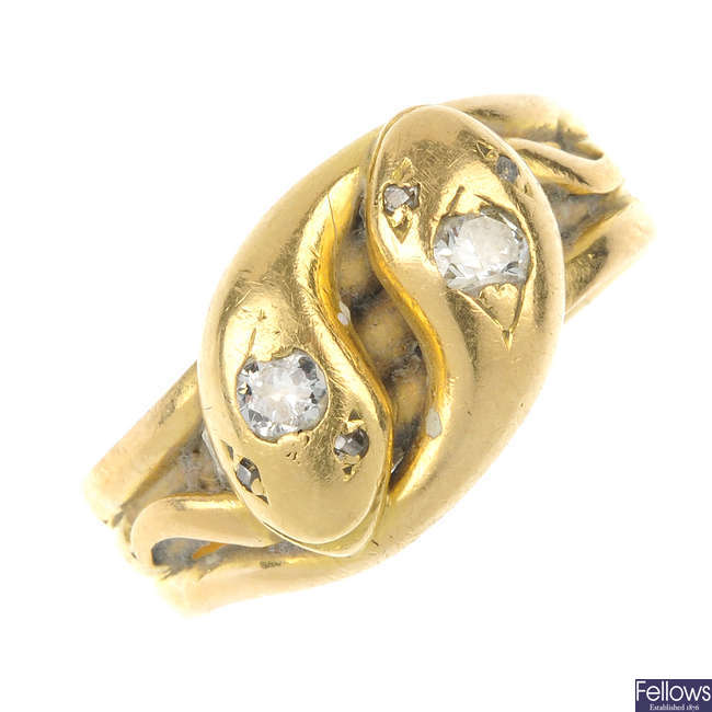 An early 20th century gold snake ring.
