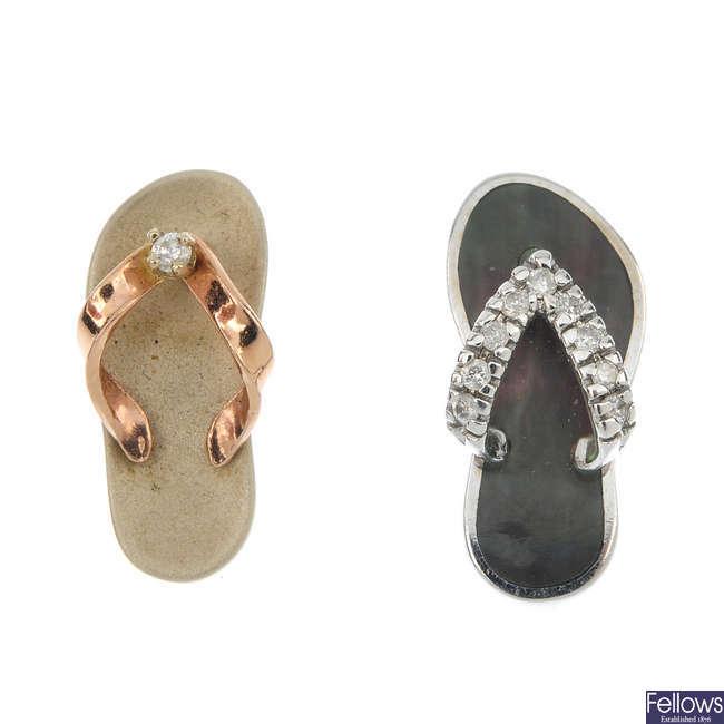 Two gem-set flip flop pendants.