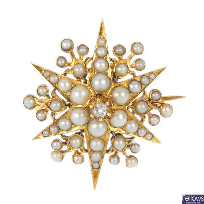 A late 19th century gold diamond and split pearl brooch.