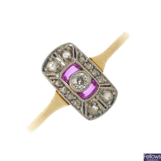 An Art Deco 18ct gold diamond and ruby ring.