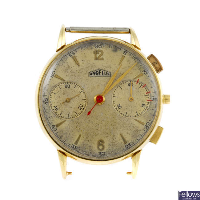 ANGELUS - a gentleman's yellow metal chronograph watch head.