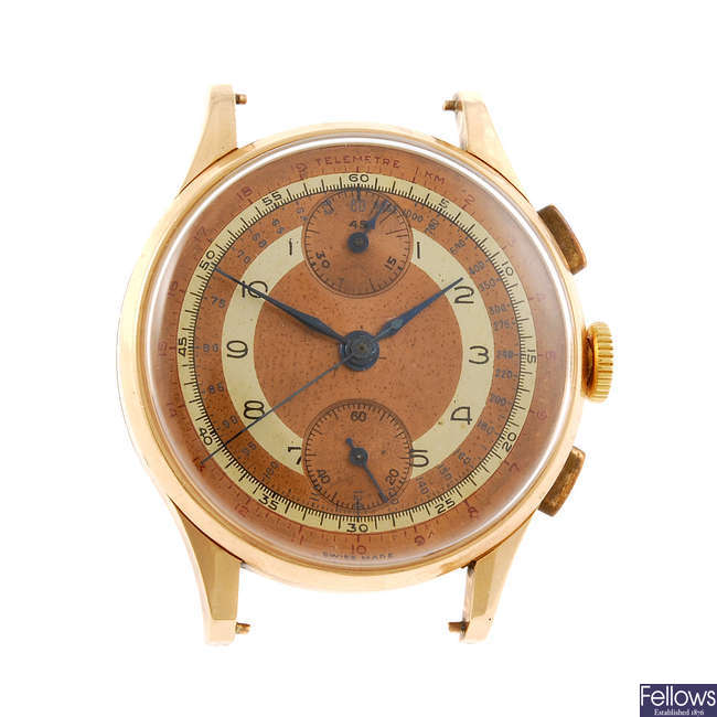 A gentleman's chronograph watch head.
