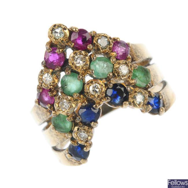 A gem-set and diamond dress ring.