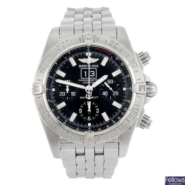 BREITLING - a gentleman's Windrider Chronomat Blackbird chronograph bracelet watch.