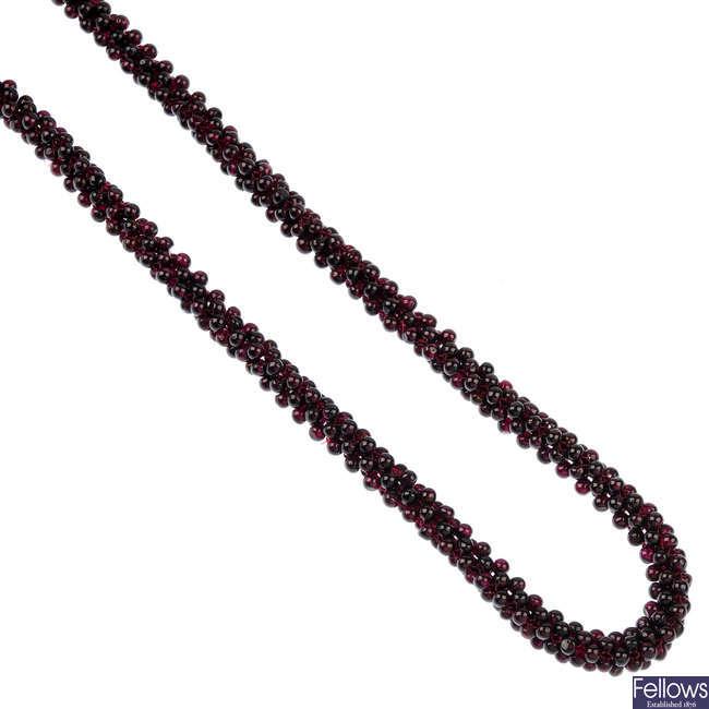 A garnet necklace.