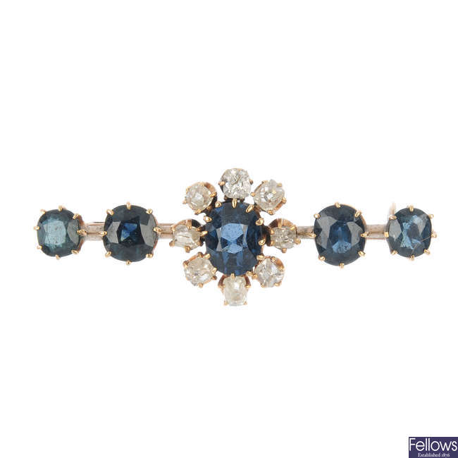 An early 20th century continental 14ct gold sapphire and diamond bar brooch.