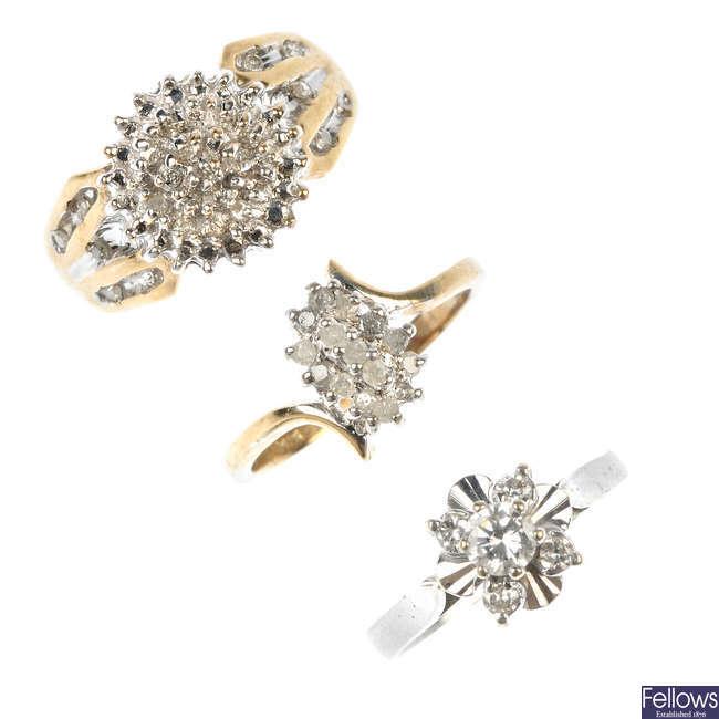 An assortment of six gem-set rings.
