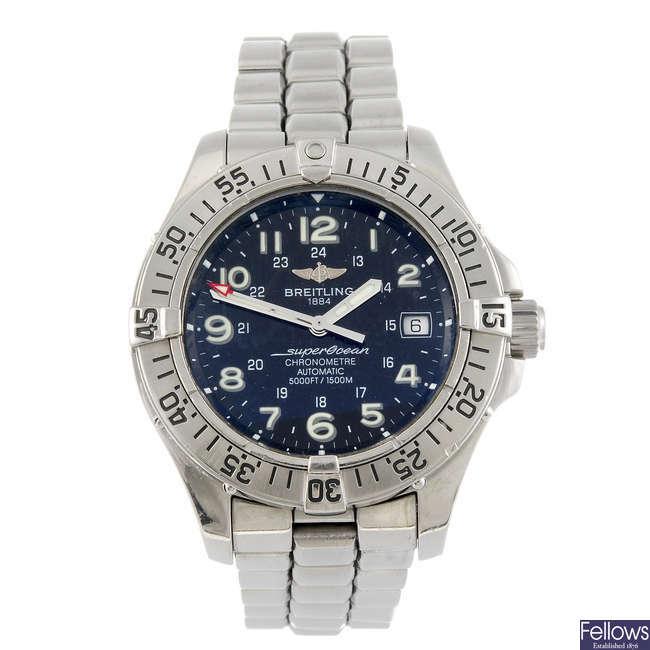 BREITLING - a gentleman's Aeromarine Superocean Steelfish bracelet watch.